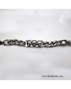 stainless steel ID skull bracelet
