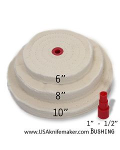 """Buffing Wheel Spiral Sewn - 6"""", 8"""" or 10""""- 80ply Muslin 1"""" Arbor Hole - with Arbor Adapter for 1/2"""" - 3/4"""""""