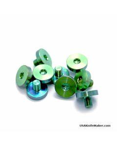 """Disc Pivot, Plain Head, Titanium Anodized Teal (green), .450""""D, 8-64 Thread, .20"""" Thread Length"""