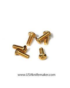 "Screw 2-56 Button Head Gold 1/4"" thread length  20ct Handle Hardware"
