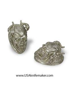 """Pommel - Skull with Horns - Silver - 1.49""""x0.90""""x1"""""""
