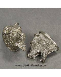 Pommel #124 Bear Head - Nickel Silver