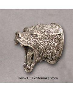 Small Bear Head Pommel Nickel Silver