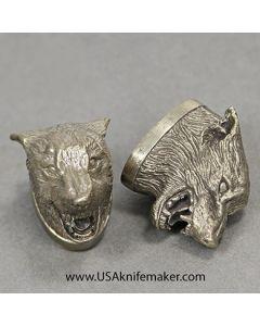 Wolf Head Pommel - Nickel Silver