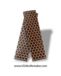 "Resin Hybrid3D™ Orange Hexagon Grid & Black Cast Resin Scales - .375"" x 1.5"" x 6"" - Knife Handle Material"