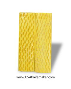 """Jigged Bone - Dyed Yellow - 4.5"""" x 1.25"""" Pair of Scales"""