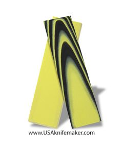 """G10 - Yellow and Black 2x2 1/8"""" - Knife Handle Material"""