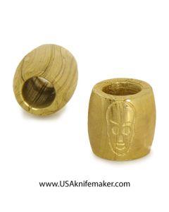 "Damascus Bead - Engraved Skull Convex - .46""L x .48""W - BRASS"