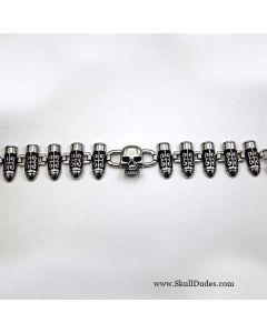 stainless steel link bracelet skull bullets