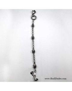 Stainless Steel Oxidized Skull Charm Bracelet