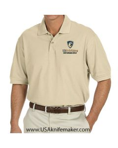 USA Knifemaker Embroidered Men's Polo- Stone Dust - Small