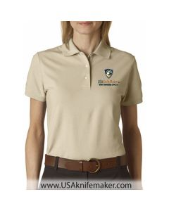 USA Knifemaker Embroidered Women's Polo- Stone Dust