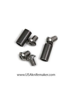 "Pivot Barrel 1/4"" for folders includes (2) 8-32 x 1/4 Button Head Stainless Steel Screws Knifemaking Handle Hardware"