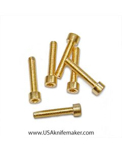 "Screw 2-56 Socket Head 3/8"" Thread Length Gold Plated - 20ct"