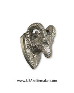 Ram Head Pommel - Nickel Silver