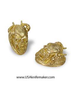 """Pommel - Skull with Horns -Bronze - 1.49""""x0.90""""x1"""""""