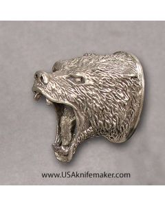 Small Bear Head Pommel Nickel Silver