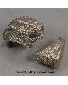 Snake Head Guard & Pommel - Nickel Silver