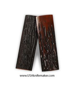 "Stag Bone- Blood Red Dyed- 1/4""x 1 1/4"" pair of scales"