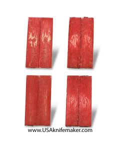 Birds Eye Maple Knife Handle Scales - Dyed Red