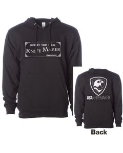 Hoodie - Support Your Local Knifemaker FRONT - Eagle and Shield BACK