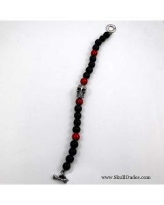 red black bead skull bracelet