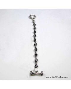 stainless steel skull bracelet black onyx eyer