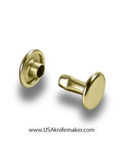 Rivets - Double Cap medium Brass (gilt) plate 100pk